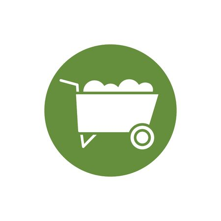 wheel barrow tool block style icon vector illustration design