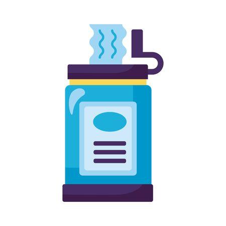 damp cloths box detaild style icon vector illustration design