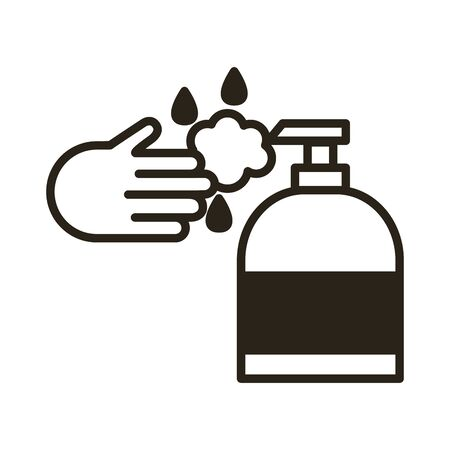 hand with antibacterial soap bottle line icon vector illustration design