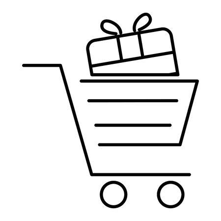 shopping cart with gift box present vector illustration design Ilustração