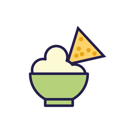 nachos with guacamole mexican food fill style icon illustration design Vector Illustration