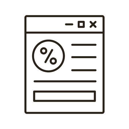webpage with percent symbol line style icon