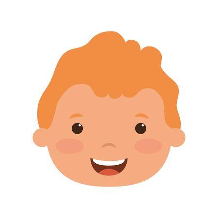 cute little boy head comic character vector illustration design Vettoriali