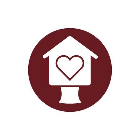 bird house wooden block style illustration design