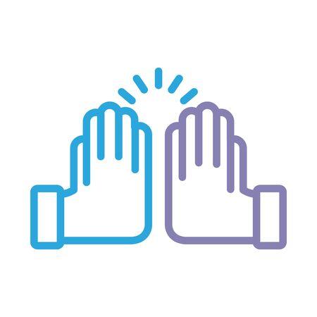 hands crashing solidarity line style vector illustration design Foto de archivo - 150379135