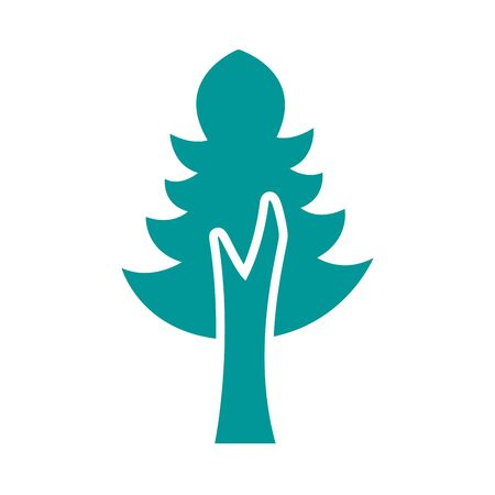 pine tree plant forest silhouette style icon  illustration design 向量圖像