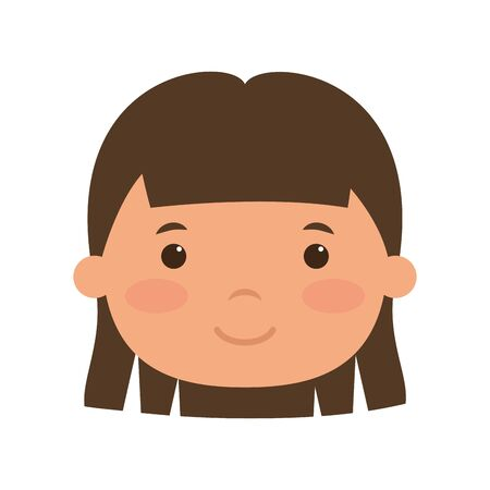 cute little girl head comic character vector illustration design