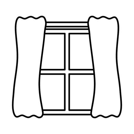 window house with courtain icon vector illustration design 일러스트