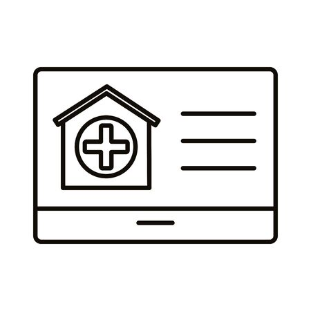template web with house and medical cross line style vector illustration design
