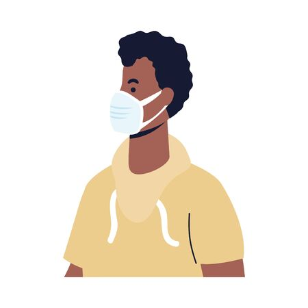 man with mask design of medical care and covid 19 virus theme Vector illustration