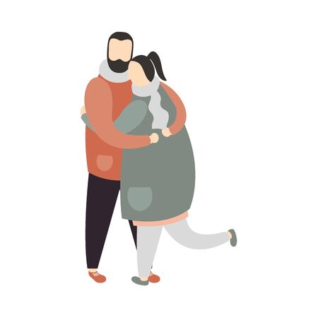 Couple of woman and man embraced design, Relationship love and romance theme Vector illustration