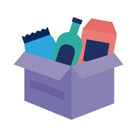 donations urn with groceries solidarity flat style vector illustration design