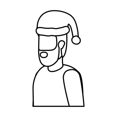 bearded man with christmas hat character vector illustration design