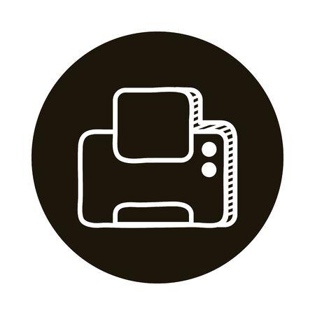 printer machine doodle block style icon vector illustration design