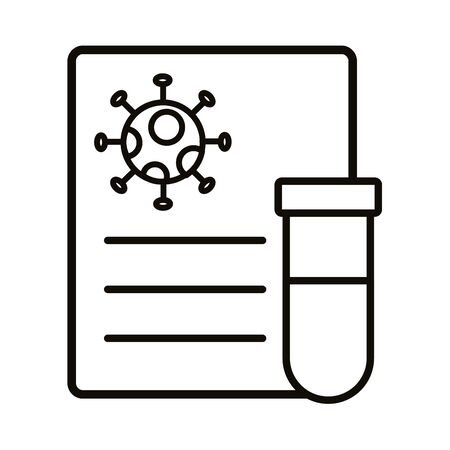 covid19 virus particle in document with tube test line style vector illustration design