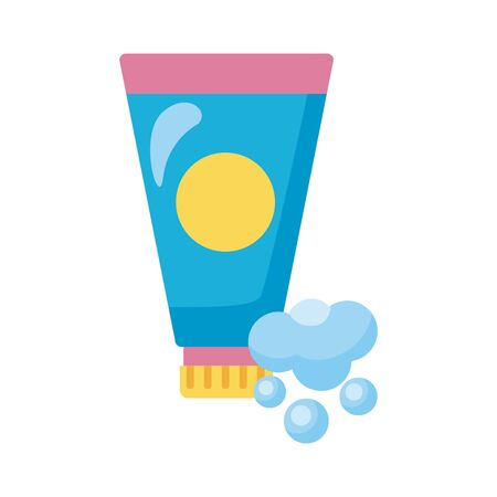 disinfectant plastic bottle product with foam detaild style vector illustration