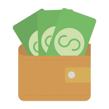 wallet with bills money dollars vector illustration design