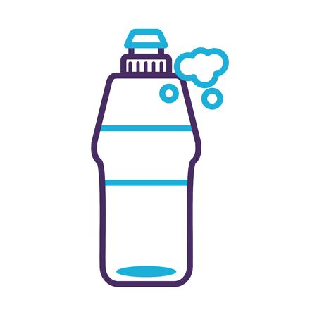 disinfectant plastic bottle product with foam line style vector illustration