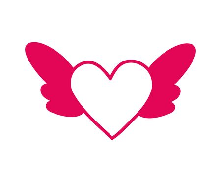 heart love with wings icon vector illustration design Vettoriali