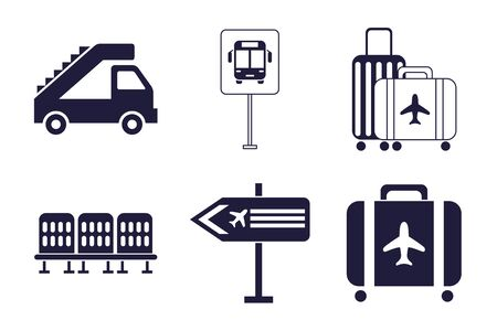 bundle of airport set icons vector illustration design