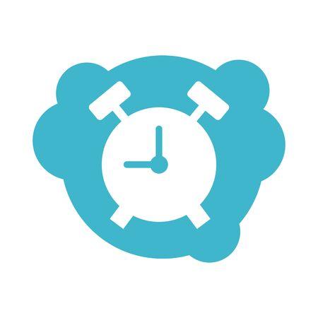 alarm clock block style icon vector illustration design