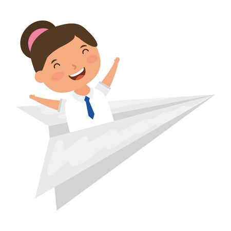 cute little student girl with paper airplane vector illustration design