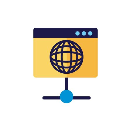 webpage template with sphere browser flat style vector illustration design