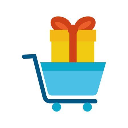 shopping cart market with gift vector illustration design