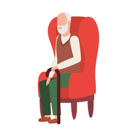cute old man seated in sofa character vector illustration design 矢量图像