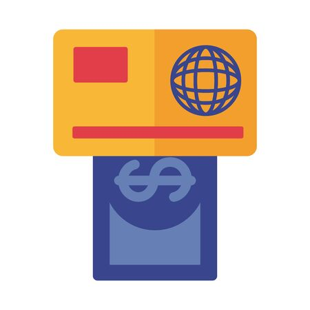 credit card and bill payment online flat style vector illustration design