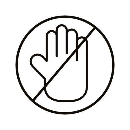 hand stop signal line style vector illustration design Standard-Bild - 150442802
