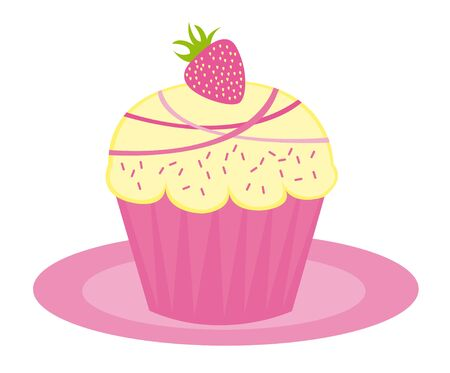 pink cup cake isolated over white background. vector