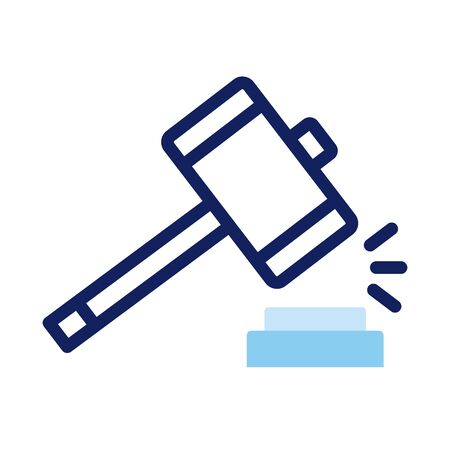 hammer justice line and fill style vector illustration design