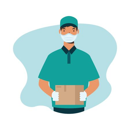 Man with mask and box design, Safe delivery quarantine logistics and transportation theme Vector illustration