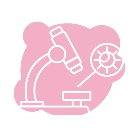 microscope laboratory with covid19 particle block style vector illustration design