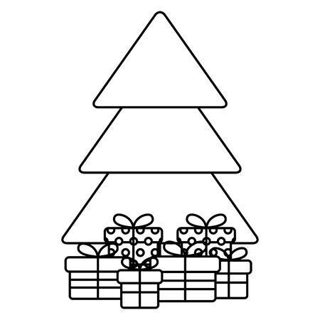 christmas pine tree with gifts presents vector illustration design 일러스트