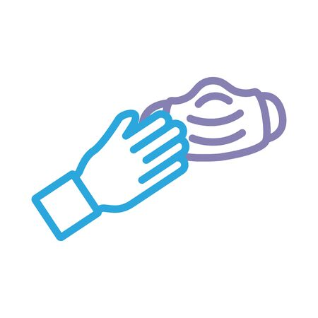 hand with face mask line style icon illustration design