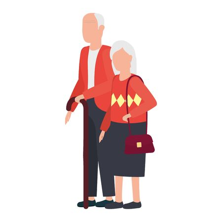 cute old couple comic characters vector illustration design