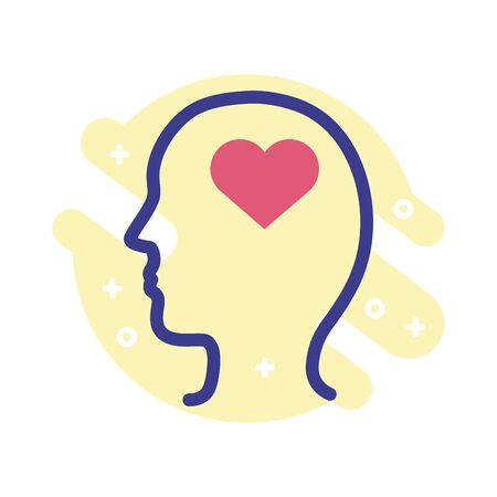 profile with heart mental health line style icon vector illustration design