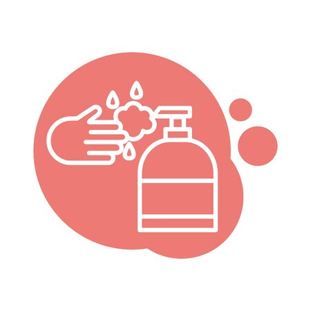 hand with antibacterial soap bottle block icon vector illustration design