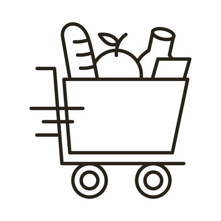 groceries in shopping cart delivery service line style vector illustration design