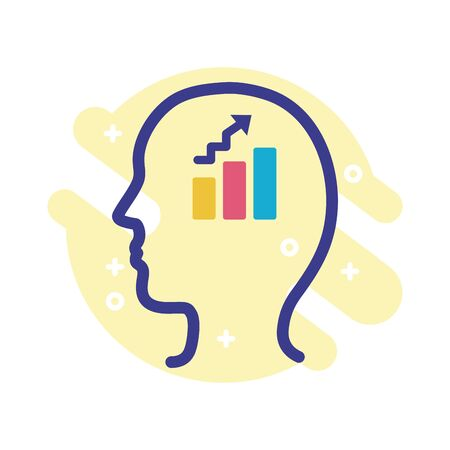 profile with statistics bars mental health line style icon vector illustration design Vettoriali
