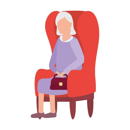 cute old woman seated in sofa comic character vector illustration design