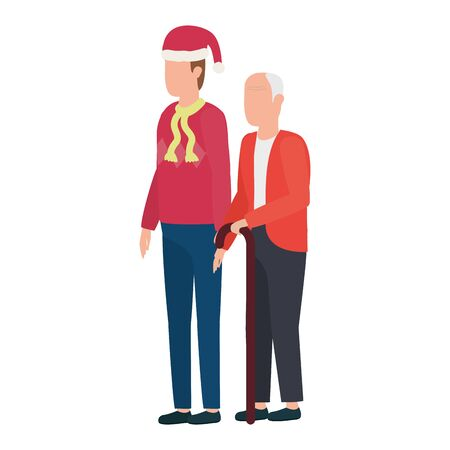 cute grandfather with young son using christmas hat vector illustration design 矢量图像