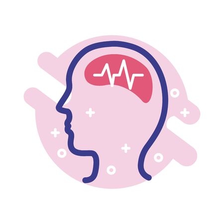 profile with brain mental health line style icon vector illustration design