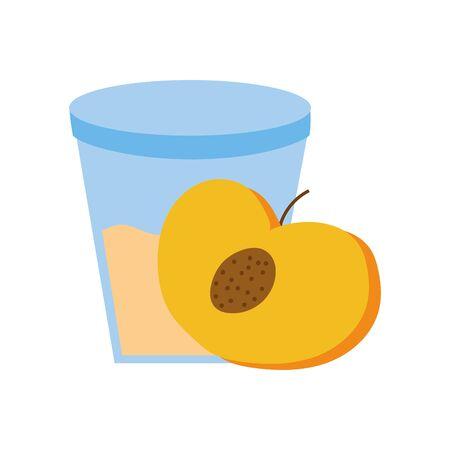 sweet peach fruit with glass vector illustration design Vettoriali