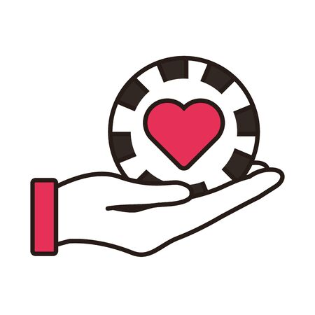 hand lifting casino chip with heart isolated icon vector illustration design