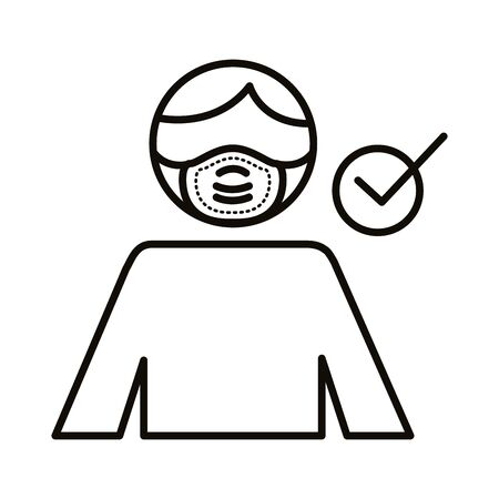 man using face mask line style icon vector illustration design