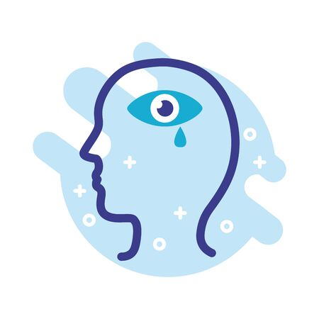 profile with eye crying mental health line style icon vector illustration design