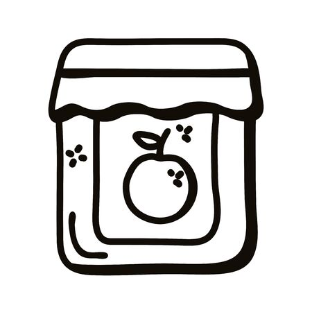 orange mermelade jar line style icon design, Cook kitchen eat and food theme Vector illustration Vectores